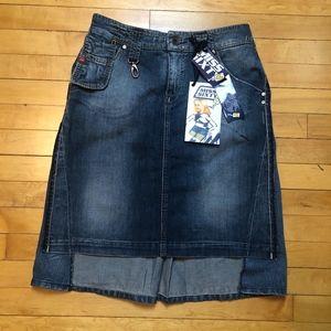 Miss Sixty Mixed Cut Distressed Denim Midi Skirt